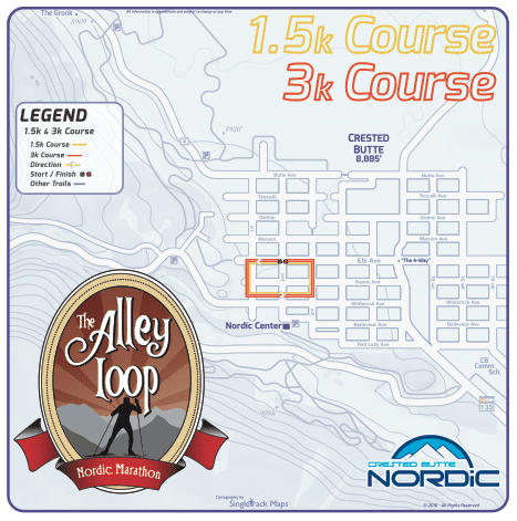 The Alley Loop Nordic Marathon 1.5k 3k course map
