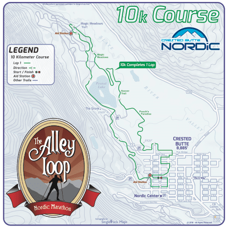The Alley Loop Nordic Marathon 10k Course Map Crested Butte Colorado