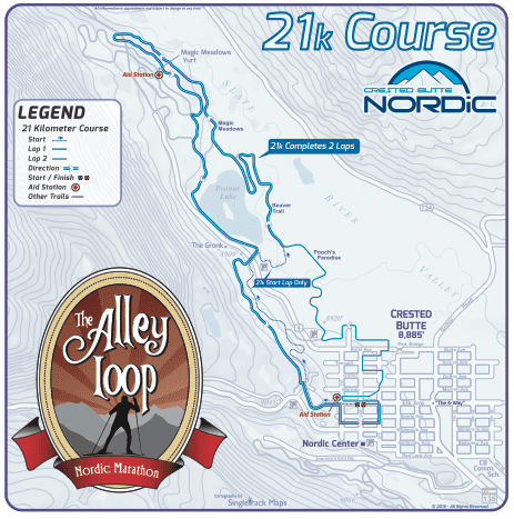 The Alley Loop Nordic Marathon 21k Course Map Crested Butte Colorado