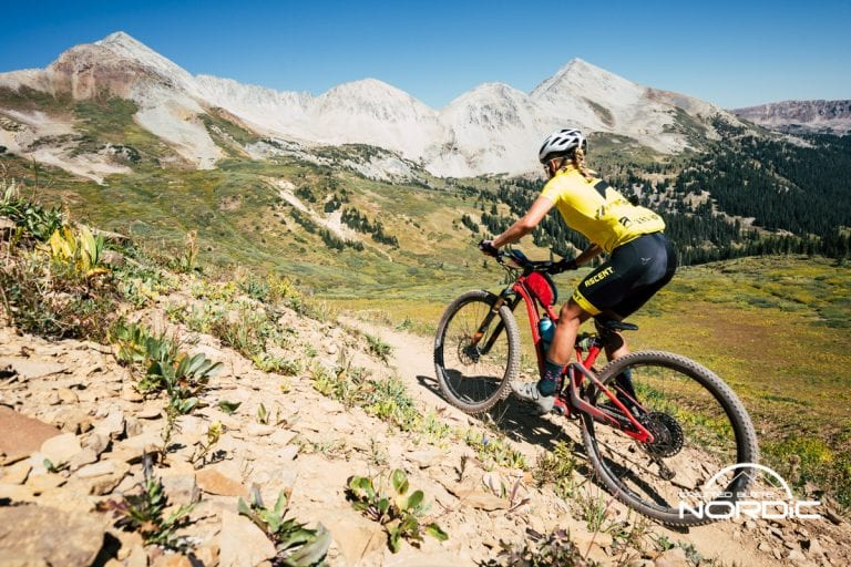 Grand Traverse biker on course in the backcountry