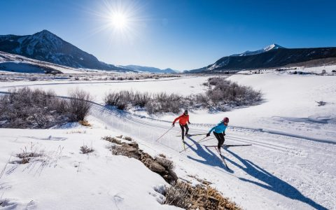 Couple Nordic Skiing in Crested Butte