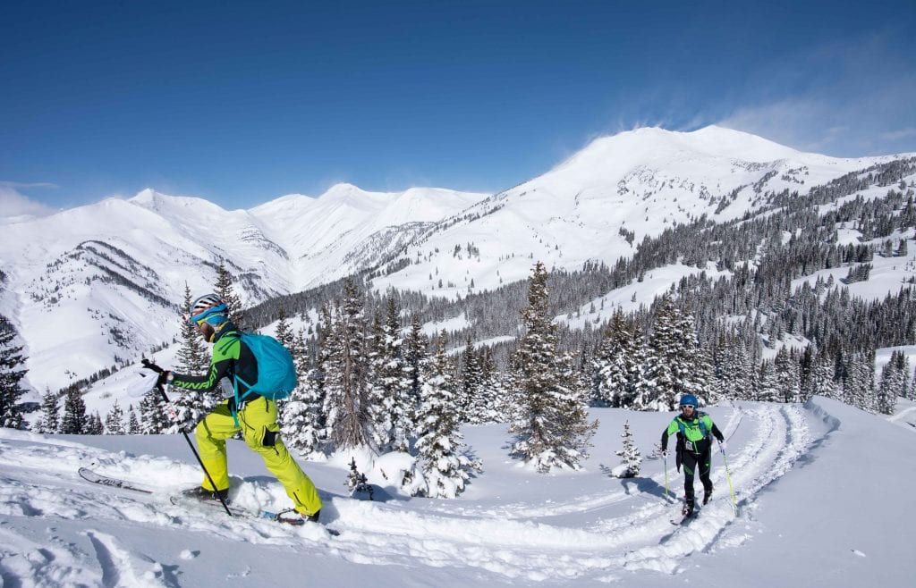Skiers traverse the backcountry outside Crested Butte during the Gothic Mountain Tour.