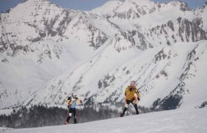 Skiers traverse in the backcountry outside Crested Butte during the Gothic Mountain Tour