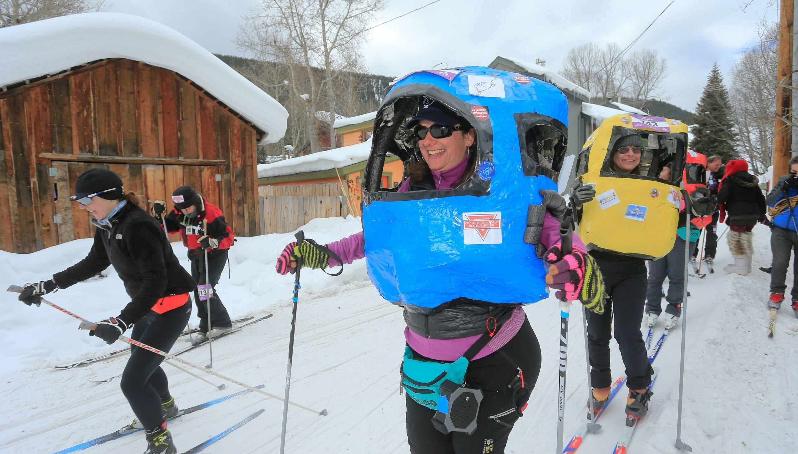 Alley Loop racers dressed up in a ski gondola costume.