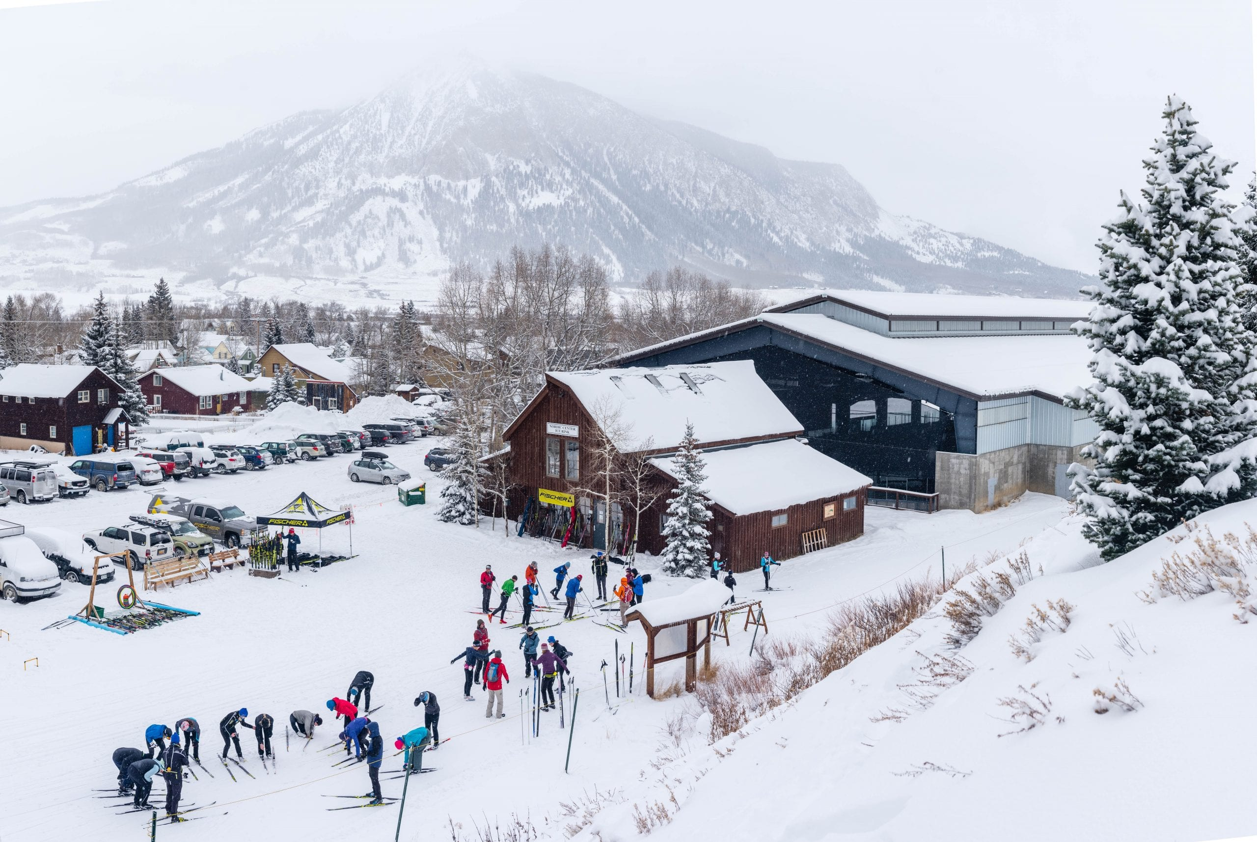 Overhead view of group lessons at Crested Butte Nordic