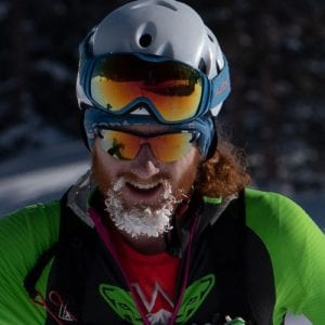 Cam with frosted beard training for ski mountaineering