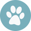 Dog paw icon- white against light blue circle