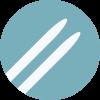 Ski icon- white against light blue icon