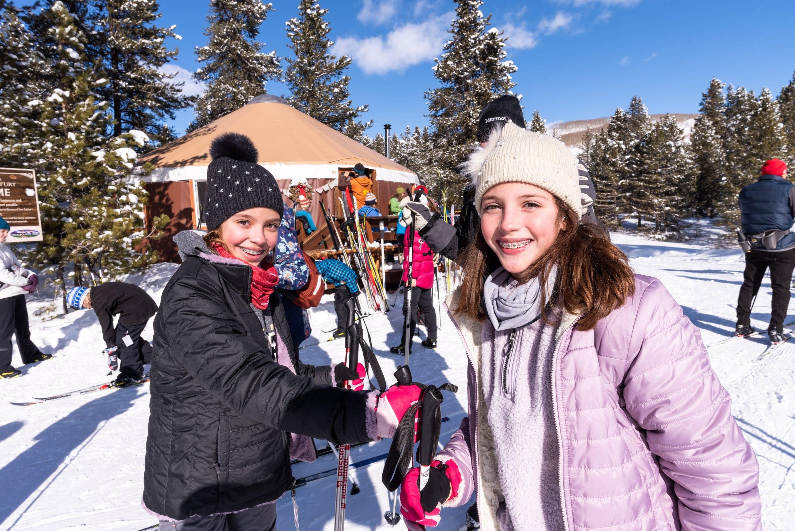 Young visitors enjoying the scene at Magic Meadows Yurt