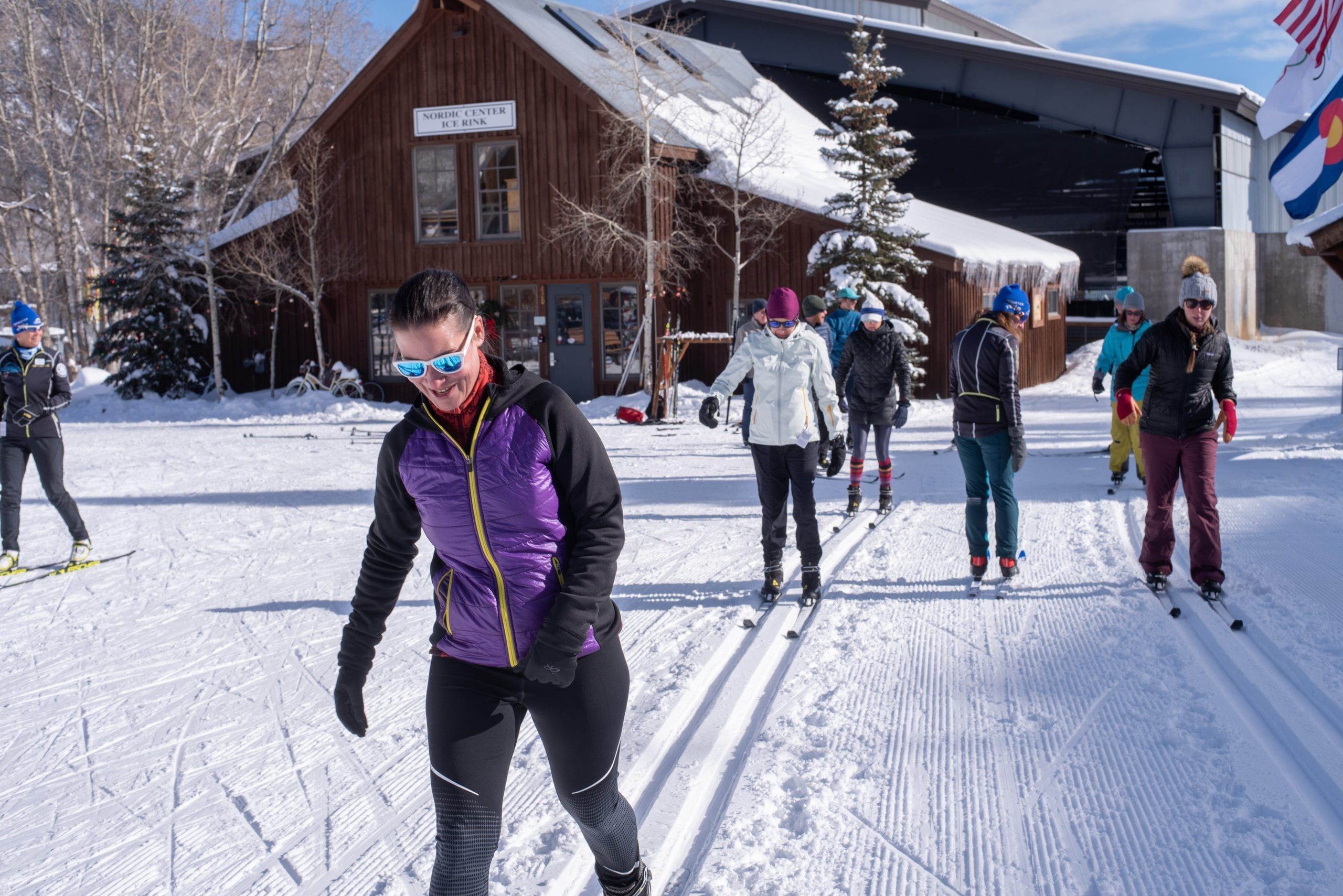 Beginners group lesson at Crested Butte Nordic