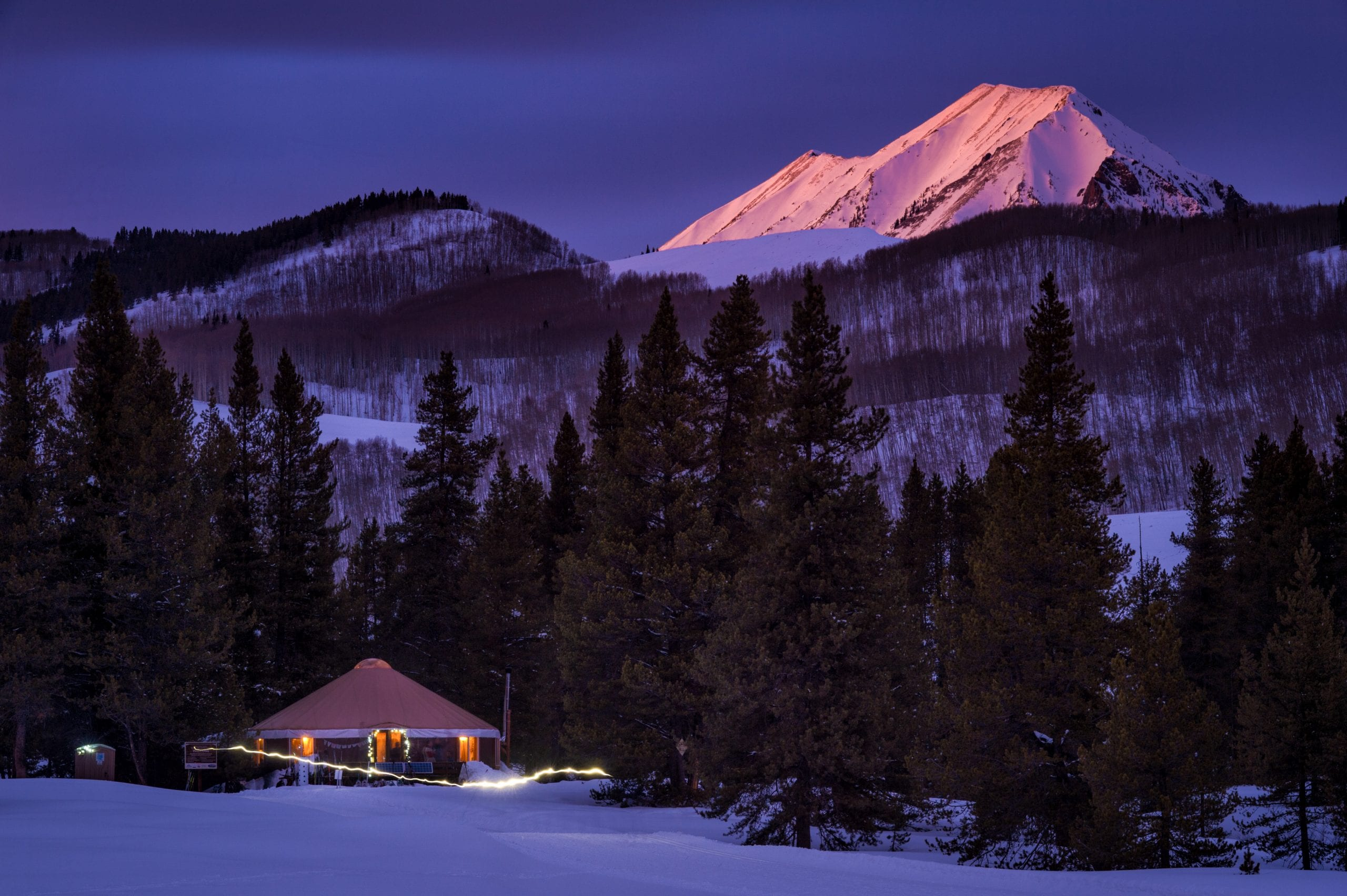 Sunset on Gothic Mountain with Magic Meadows Yurt in foreground