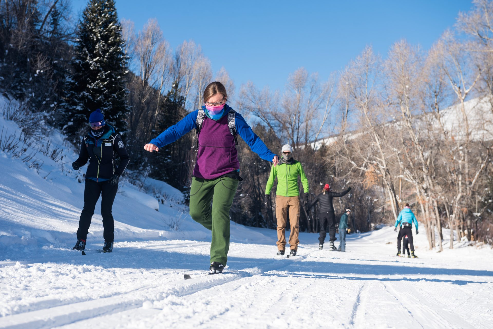 Beginner classic ski lesson at Crested Butte Nordic