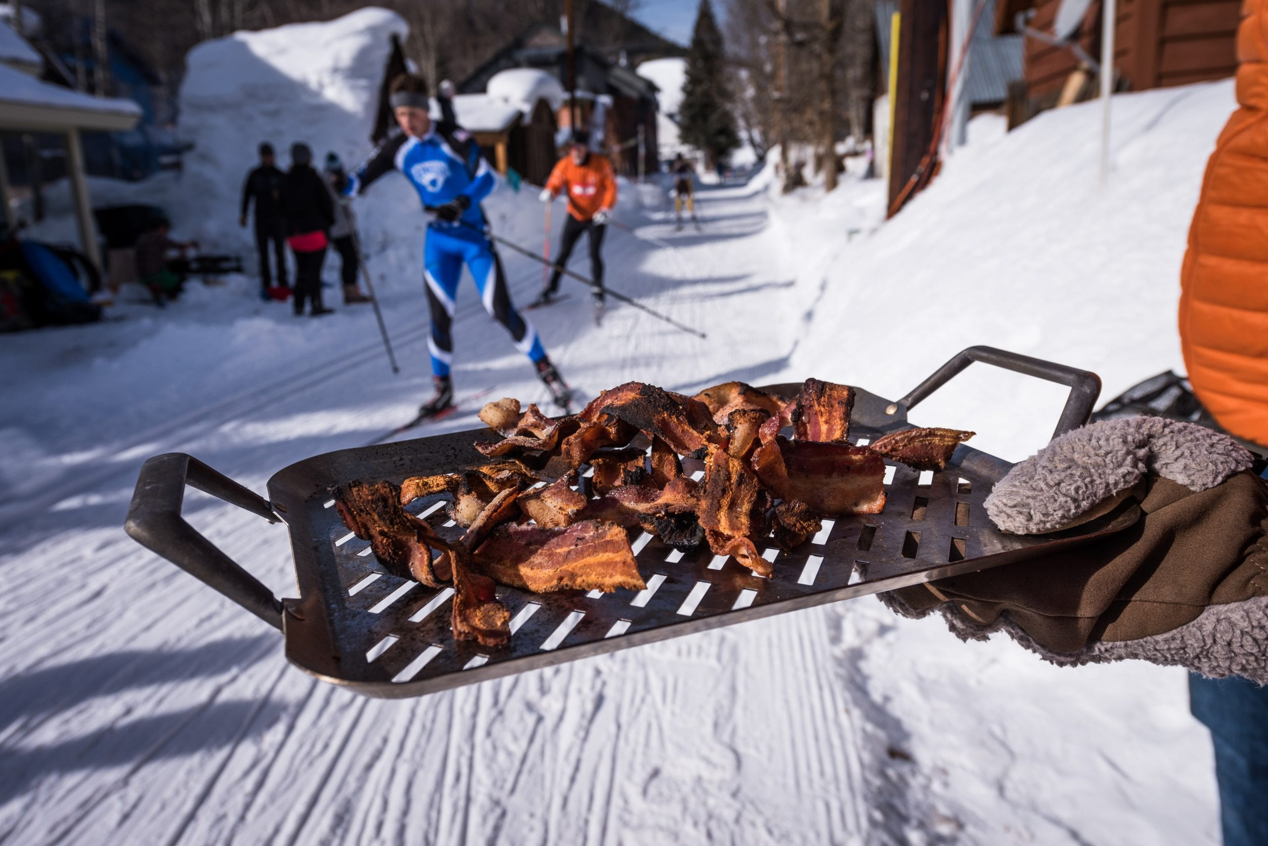 Bacon handouts for Alley Loop racers on course