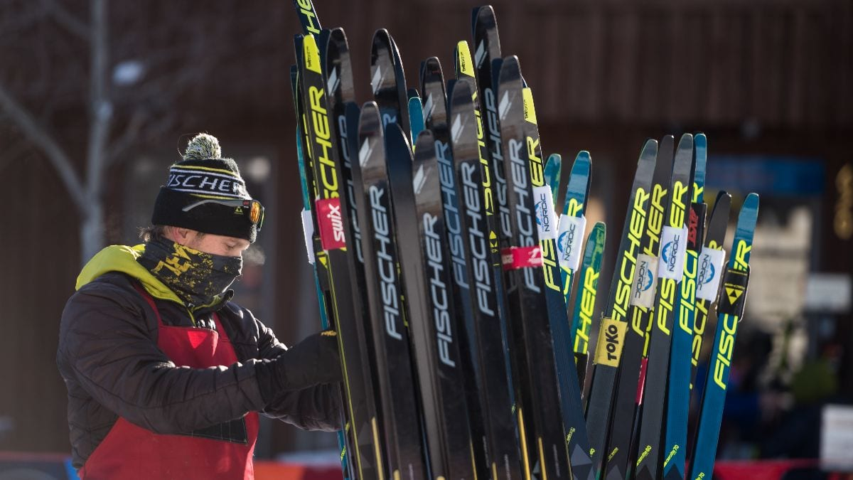 Fischer Skis rep and fleet for demo clinic