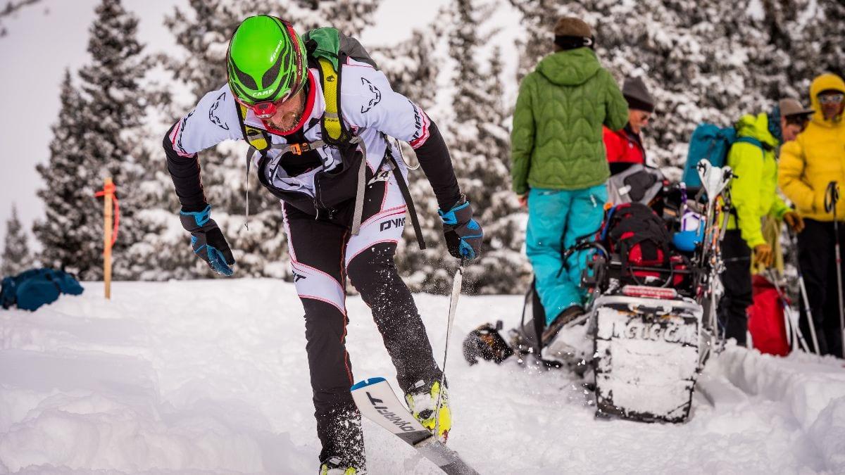Gothic Mountain Tour ski-mountaineering race check point scene