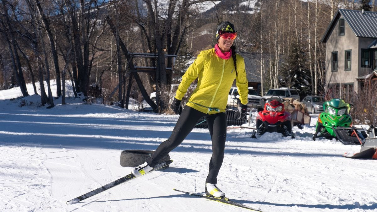 Advanced skate ski lesson drill for balance and strength