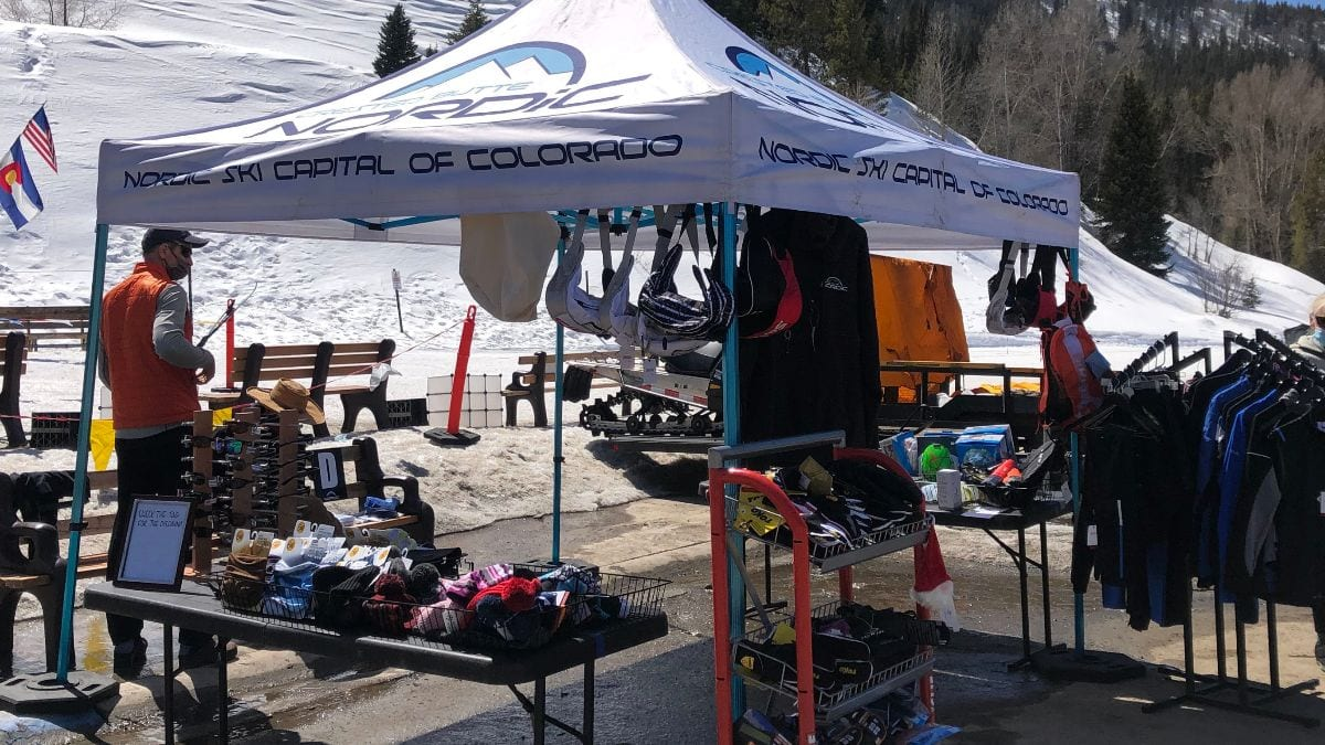 End of season tent sale in CB Nordic parking lot