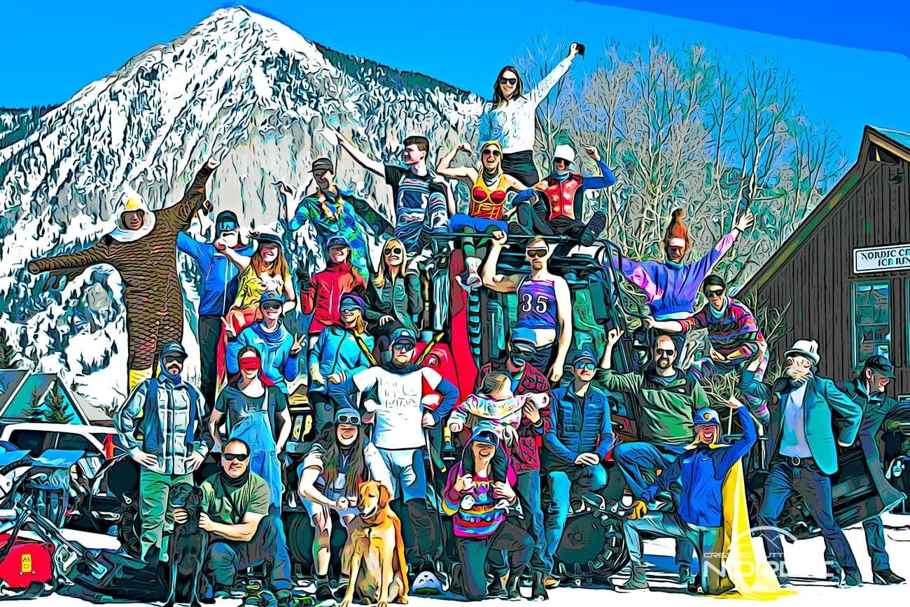 Crested Butte Nordic all staff costume photo shoot - Spring 2021