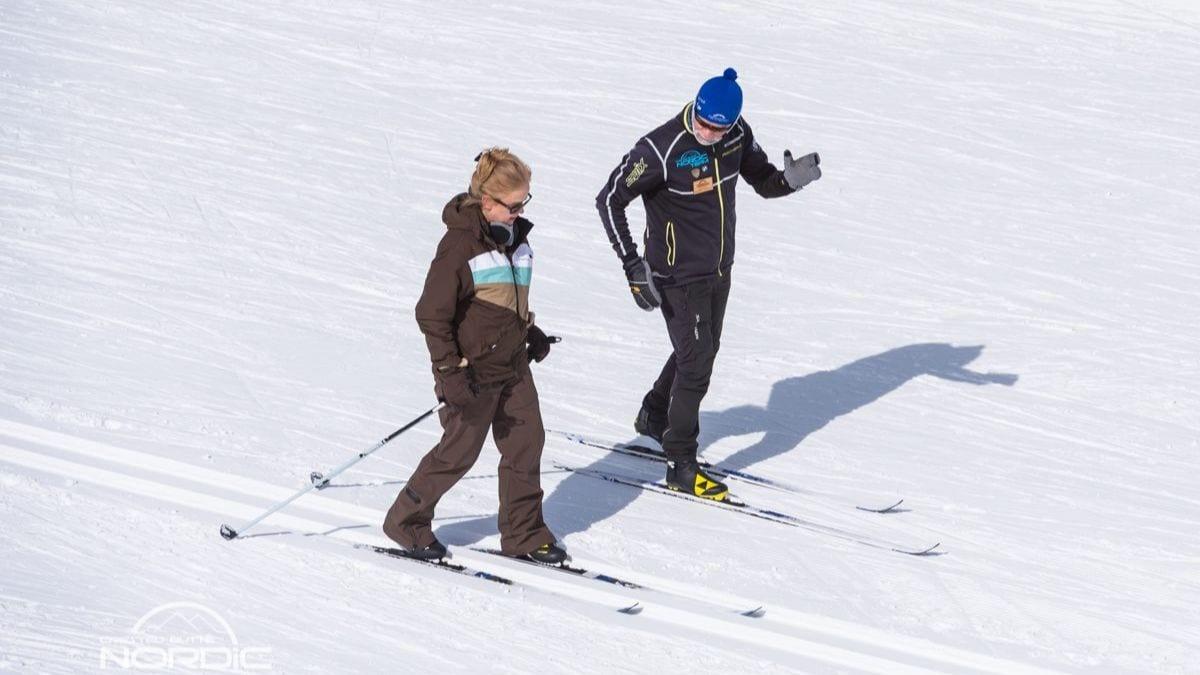 Classic ski lesson in progress