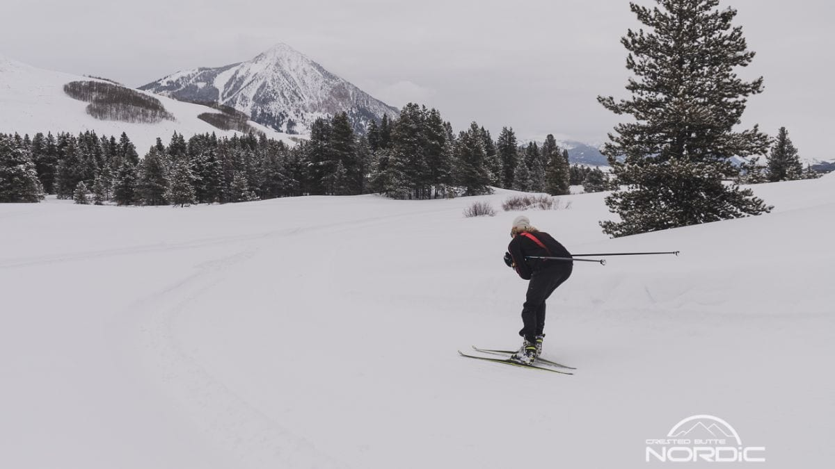 Skier rounds a bend on a stormy day in Crested Butte