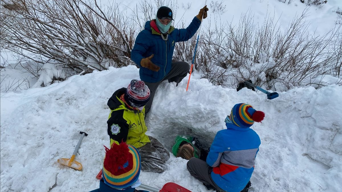 Local youth learning avalanche safety