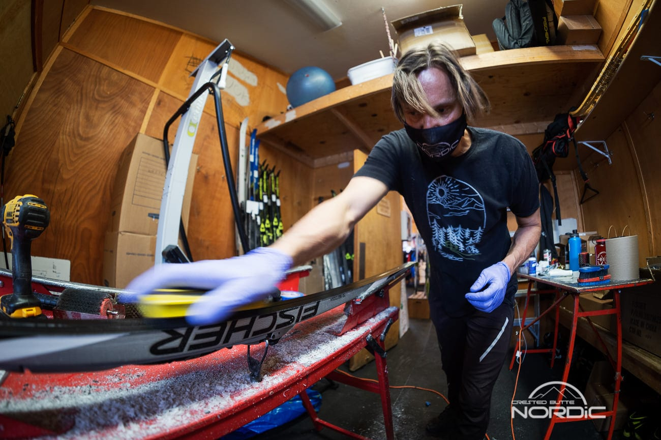 Toni hard at work waxing skies at Crested Butte Nordic