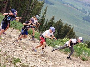 Crested Butte Nordic Devo kids in dryland training on hills