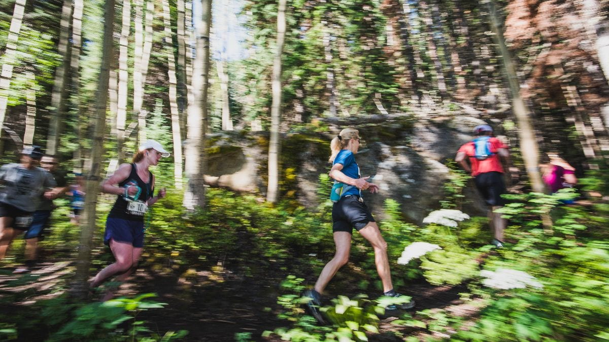 Grind & Bear It runners on a trail in the woods