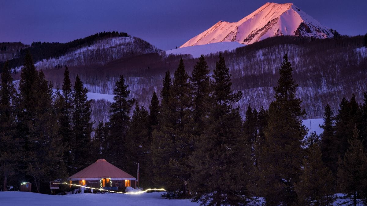 Sunset at the Magic Meadows Yurt with Gothic Mountain in the background