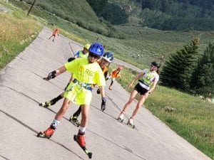Crested Butte Nordic Devo kids training on roller skis